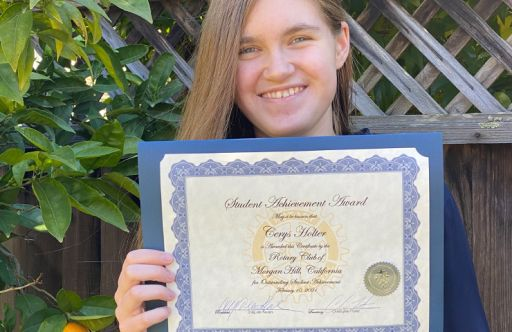 Cerys Holter Honored as Outstanding Student by Rotary Club of Morgan Hill