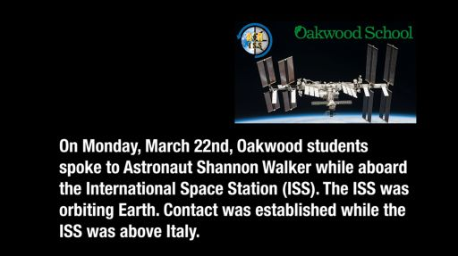 Oakwood Students Talk to Astronaut Aboard International Space Station