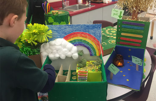 Kindergarten Students Get Creative With Leprechaun Trap Designs