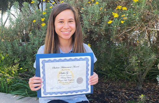 Oakwood MS Student Honored by Morgan Hill Rotary Club