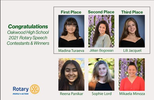 Congratulations to Oakwood High School Contestants and Winners of the 37th Annual Rotary Youth Speech Contest